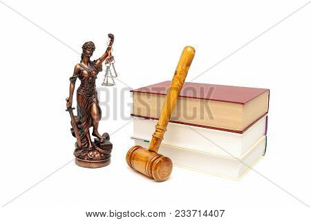 Gavel, The Statue Of Justice And Books On White Background. Horizontal Photo.