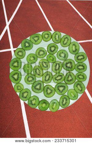 Kiwi Slices Background Refreshment Ripe Round Sliced