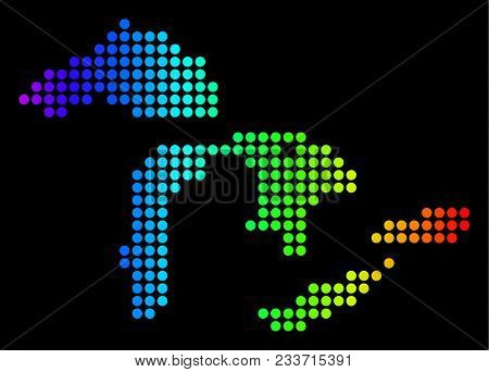 Dotted Pixel Great Lakes Map. Vector Geographic Map In Bright Spectrum Colors On A Black Background.