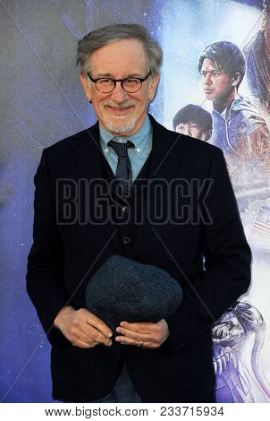 Steven Spielberg at the Los Angeles premiere of 'Ready Player One' held at the Dolby Theatre in Hollywood, USA on March 26, 2018.