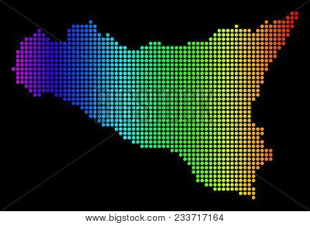 Dotted Pixelated Sicilia Map. Vector Geographic Map In Bright Spectrum Colors On A Black Background.