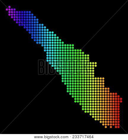 Dotted Pixelated Sumatra Island Map. Vector Geographic Map In Bright Spectrum Colors On A Black Back