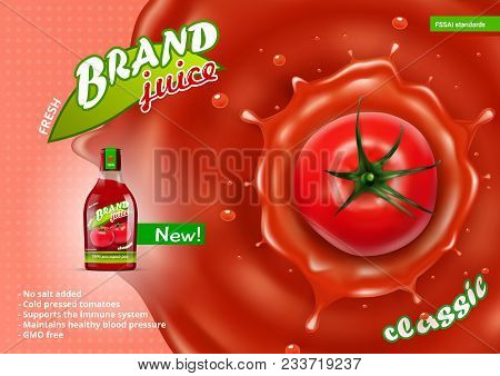 Fresh Tomato Juice In Glass Bottle With Juice Splash. Eps10 Vector