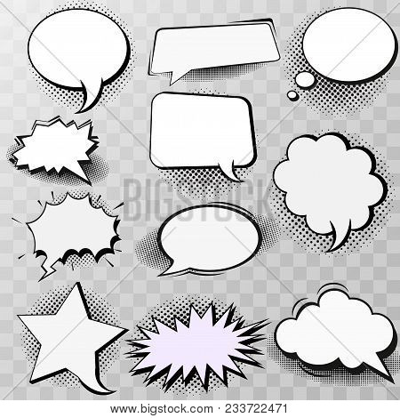 Set Of Blank Template In Pop Art Style. Vector Comic Text Speech Bubble Halftone Dot Background. Emp