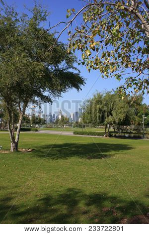 AL BIDDA PARK, DOHA, QATAR - March 28, 2018: A vertical view across the newly opened park in the centre of Qatar's capital.