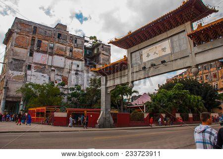 Street Near The Capitolio Nacional, El Capitolio. Chinese Gate On A Public Road. Havana, Capital Of