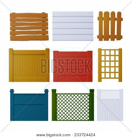 Vector Set Of Wooden Fence Elements For Design. Wooden Fence Of Different Design: Fence, Mesh, Polis