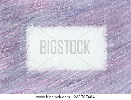 Hand Drawn Soft Violet Pastel Crayon Scribble Frame On Paper Texture. Modern Abstract Background Wit