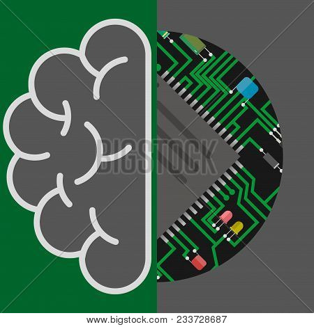 Ai Artificial Intelligence Icon.brain And Circuit Board, Artificial Intelligence Or Ai Concept
