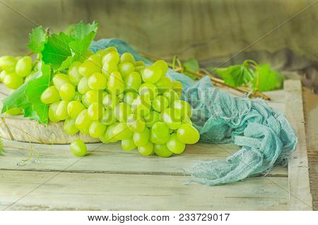 Fresh Green Grapes. Bunch Of Grapes And Vine Leaf