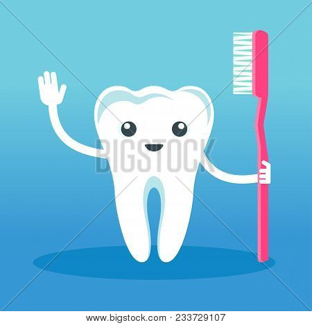 Cute Happy Smiling Tooth With A Toothbrush. Flat Vector Cartoon Character Illustration. Care Of Teet