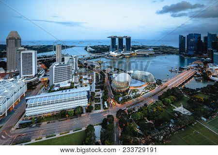 Cityscape Of Singapore City In The Daytime, Aerial View Singapore Skyline