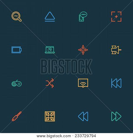 Multimedia Icons Line Style Set With Controller, Zoom Out, Fast Forward And Other Magnifying Element