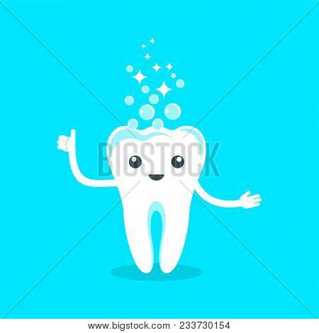 Cute Happy Smiling Tooth. Flat Vector Cartoon Character Illustration. Care Of Teeth. Dental Concept
