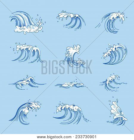 Water Waves And Ocean Or Sea Wave Splashes Sketch Line Icons. Vector Isolated Set Of Tide Wave With