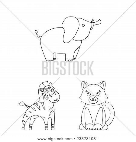 An Unrealistic Outline Animal Icons In Set Collection For Design. Toy Animals Vector Symbol Stock  I