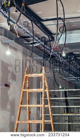 Interior Construction Building Site With Ventilation System And Electrical Installation