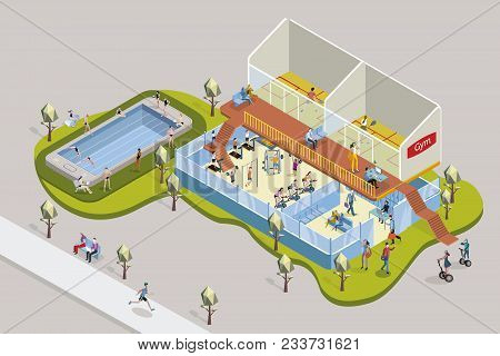 Gym With Exercise Equipment And Swimmingpool In Isometric View.  People Training In The Different Gy