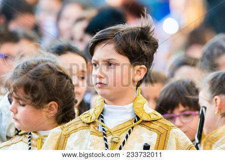 Sunday 29 March 2018, Badajoz, Spain.  Unidentified Children Participate In Procession Of  Our Fathe