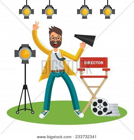 Film Director On The Set. Videoproduction And Filmmaking. Flat Vector Cartoon Illustration. Objects