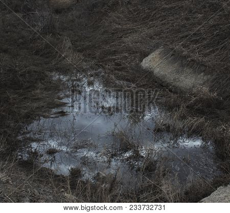Steppe gully filled with water. Abstract nature background. Natural background. Gully.