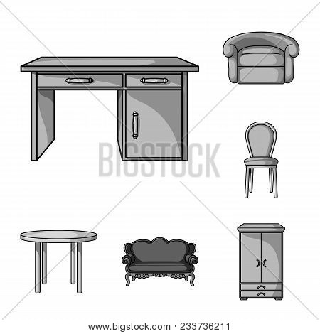 Furniture And Interior Monochrome Icons In Set Collection For Design.home Furniture Vector Symbol St