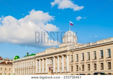 Leningrad Regional Court Building On The Fontanka River In Saint Petersburg, Russia - Facade View Wi