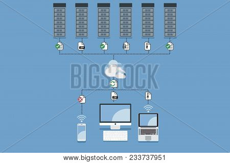 Cloud Computing Hosting Vector Concept Illustration. Cloud Computing Service And Technology For Secu