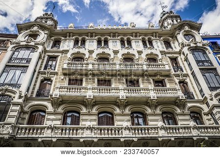 Historic Building With Balconies In The City Center Of Madrid In Spain