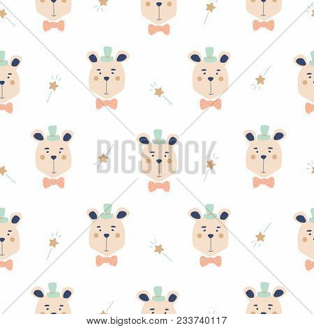 Seamless Pattern With Cute Magician Bears. Baby Animals Fabric Print Background.