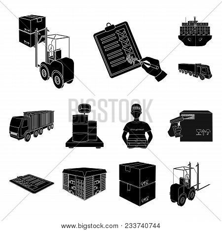 Logistics And Delivery Black Icons In Set Collection For Design. Transport And Equipment Isometric V