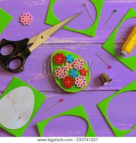 Simple Felt Easter Egg Decor. Handmade Felt Easter Egg With Colored Wooden Buttons. Felt Scrap, Scis