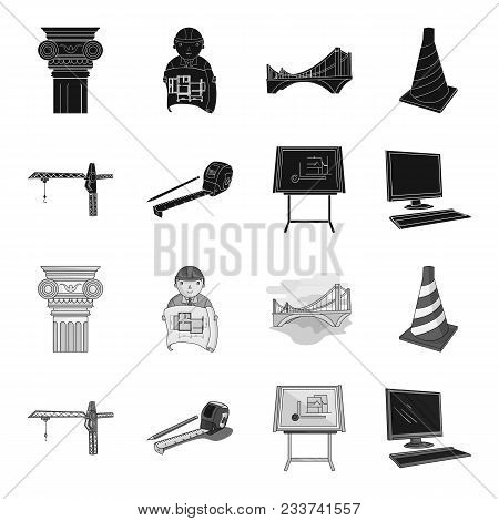 Construction Crane, Measuring Tape Measure, Drawing Board, Computer. Architecture Set Collection Ico