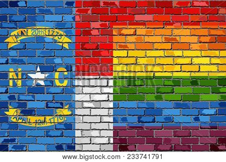 Brick Wall North Carolina And Gay Flags - Illustration, Rainbow Flag On Brick Textured Background,