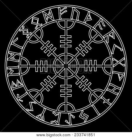 Helm Of Awe, Helm Of Terror, Icelandic Magical Staves With Scandinavian Runes, Aegishjalmur, Isolate