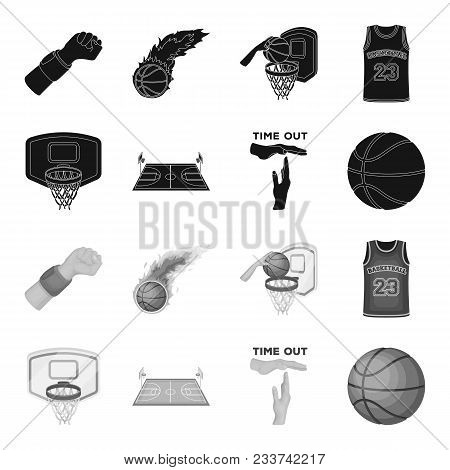 Basketball And Attributes Black, Monochrome Icons In Set Collection For Design.basketball Player And