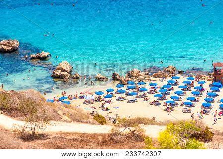View Of Konnos Bay Beach Near Protaras, Ayia Napa. Famagusta District, Cyprus.