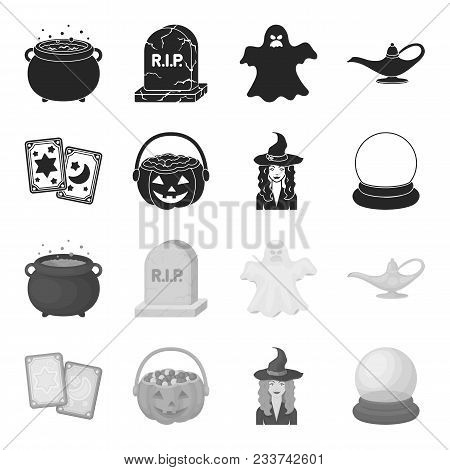 Tarot Cards, Holiday Halloween, Magician In A Hat, Crystal Ball. Black And White Magic Set Collectio