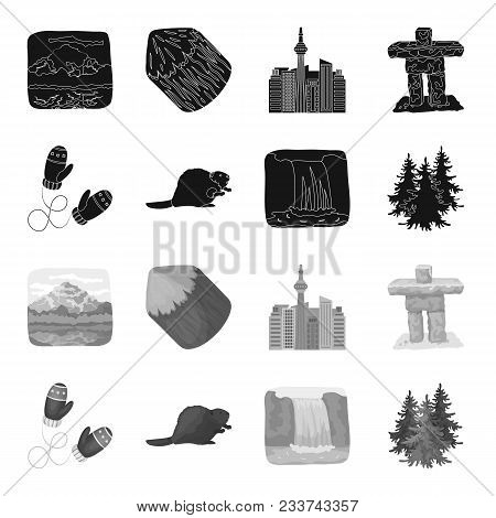 Canadian Fir, Beaver And Other Symbols Of Canada.canada Set Collection Icons In Black, Monochrome St