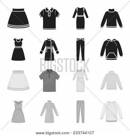 Dress With Short Sleeves, Trousers, Coats, Raglan.clothing Set Collection Icons In Black, Monochrome