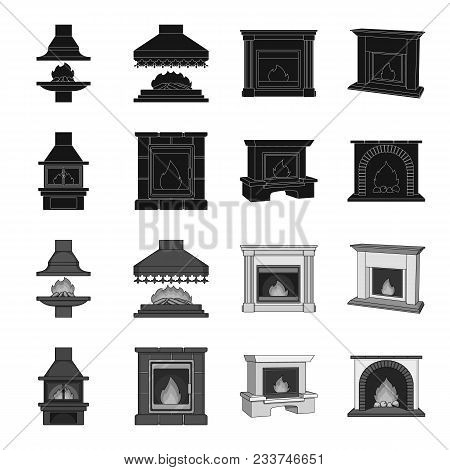 Fire, Warmth And Comfort. Fireplace Set Collection Icons In Black, Monochrome Style Vector Symbol St