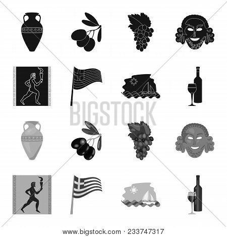 Greece, Running, Wine, Flag .greece Set Collection Icons In Black, Monochrome Style Vector Symbol St