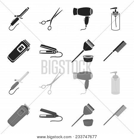 Trim, Hair Coloring, Comb, Straightener. Hairdresser Set Collection Icons In Black, Monochrome Style