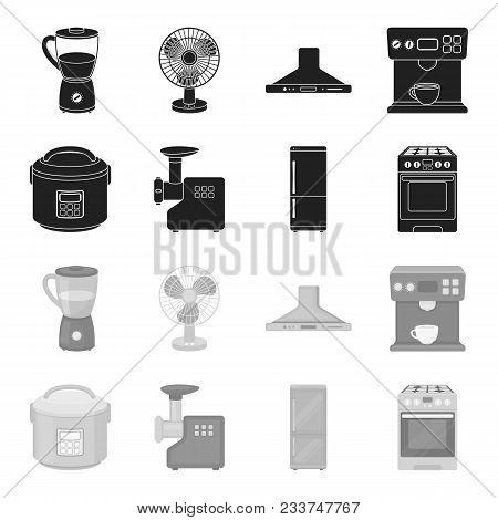 Multivarka, Refrigerator, Meat Grinder, Gas Stove.household Set Collection Icons In Black, Monochrom
