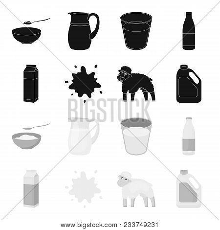 Billet Pack, Sheep.blue, Canister.moloko Set Collection Icons In Black, Monochrome Style Vector Symb