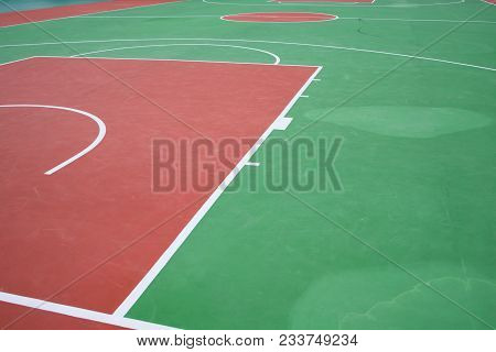 Part Of The Edge Of A Basketball Court Or Badmintor Court