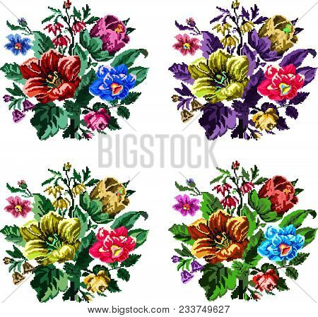 Set. Color Bouquet Of Wildflowers (lilia, Bellflower, Barberry Flower And Cornflowers)  Using Tradit