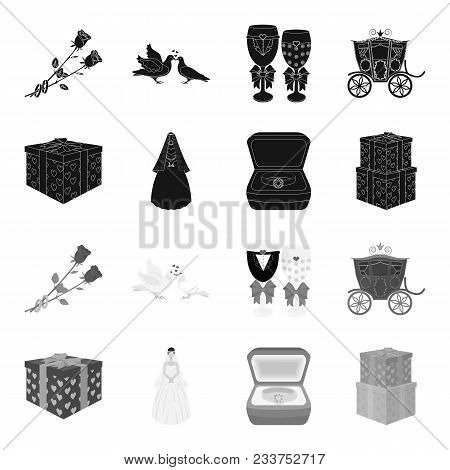 Wedding And Attributes Black, Monochrome Icons In Set Collection For Design.newlyweds And Accessorie