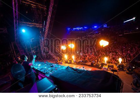 Novi Sad, Serbia - July 09 : Martin Garrix And Crowd In Front Of The Stage On Dance Arena On Exit Fe