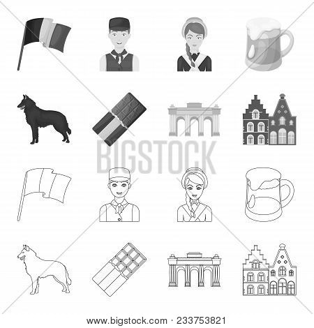 Chocolate, Cathedral And Other Symbols Of The Country.belgium Set Collection Icons In Outline, Monoc